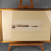 Harold Wyllie (1880-1975) Signed Framed Engraving - Old Hulks In The Harbour