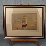 K. Browne Framed & Signed Watercolour Of A Sailing Ship