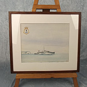 WWII Era (1946 Dated) Maritime Watercolour Of HMS Stork L81