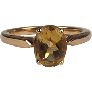 18ct Yellow Gold Citrine Ring UK Size N US 6 ¾