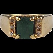 14ct Yellow Gold Emerald & Diamond Ring UK Size K+ US 5 ½