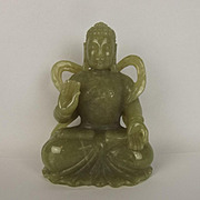 Chinese Late Ching Period Seated Buddah Nephrite Jade Statue