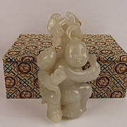 Chinese Ching Era White Jade Two Boys Carving