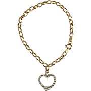 9ct Yellow Gold Bracelet With Heart Pendant