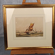 William Calcott Knell 1852 Dated Watercolour - Sailing On Stormy Waters