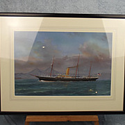 Antonio De Simone (Italian, 1851-1907) Framed & Signed HMS Surprise Gouache