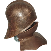 Circa 1470-80 Knights St John Order Sallet Helmet And Gorget Neck Plate
