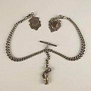 Silver Double Albert Chain With Three Fobs 1883