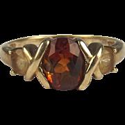 9ct Yellow Gold Three Stone Citrine Ring UK Size P+ US 8