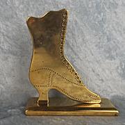 Boer War Era Brass Boot Shaped Trench Art Paper Weight