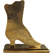 Boer War Era Brass Boot Shaped Trench Art Paper Weight