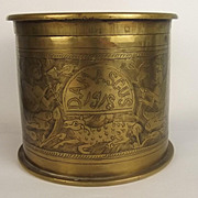 WW1 Capture Of Damascus Egyptian Styled Decorated Brass Trench Art Tobacco Jar