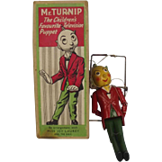 Boxed Circa 1950's Luntoy Produced Mr Turnip Puppet