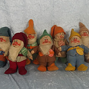 1930s Set Of 7 Chad Valley Walt Disney Snow White And The Seven Dwarfs Dolls
