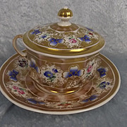 19th Century K.P.M. Berlin Chocolate Cup, Cover And Saucer