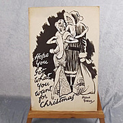 Arthur Ferrier (1891 – 1973) Merry Christmas Hand Drawn Cartoon