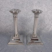 1903 Dated Birmingham W.I. Broadway & Co Sterling Silver Candlestick Pair