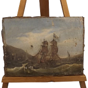 19th Century Oil On Sheet Canvas Sailing Piece