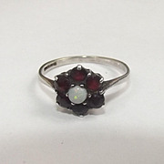 White Gold Opal & Garnet Flower Head Ring UK Size O US size 17 1/2