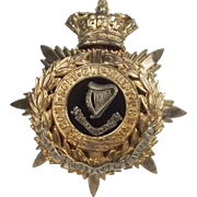 The Connaught Rangers Blue Cloth Officers Helmet Plate