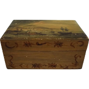 Early Victorian Maritime Painted Wooden Box
