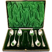 Silverplated Cased Spoon & Tong Set