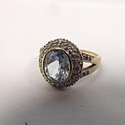 9ct Yellow Gold Topaz & Diamond Ring UK Size R US 8 ¾