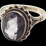 9ct Yellow Gold Amethyst Ring UK Size J+ US 5 ¼