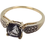 10 Ct Yellow Gold Square Iolite Ring UK Size P+ US Size 8