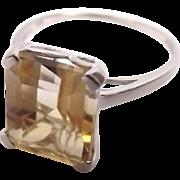 10 Ct White Gold Citrine Dress Ring UK Size P+ US 8