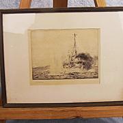 Signed William Lionel Wyllie RA Etching HMS Chester Battle of Jutland