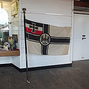 Circa 1900 German War Imperial Flag, Banner & Pole