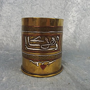 1918 WW1 Silver Inlay Trench Art Tobacco Jar Shell Case