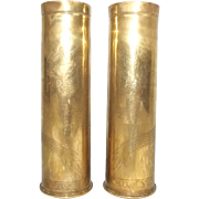 WW1 Pair Of Chinese Labour Corp Trench Art Shell Case
