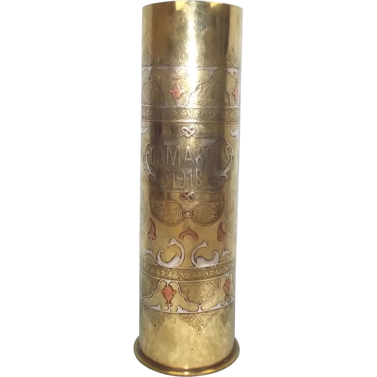 1918 WW1 Silver Inlay Damascus Trench Art Tobacco Jar Shell Case