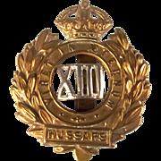 13th Hussars WW1 Cap Badge