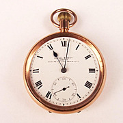 1946 9ct Gold Kendal & Dent London Open Faced Manual Wind Pocket Watch