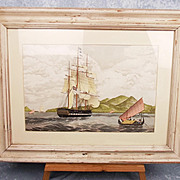 Watercolour Finished Print Of The Clipper Sir David Scott By William J. Huggins