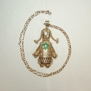 9ct Yellow Gold Necklace With Multi Stone Russian Matryoshka Doll Pendant