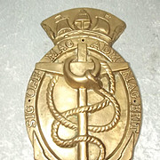 Large British Royal Navy Signal Office Brass Crest