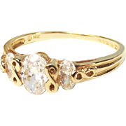 14ct Yellow Gold Three Stone Cubic Zirconia Ring UK Size U – US 10 ¼