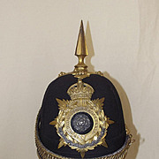 Edwardian York and Lancaster Regiment Officer's Spiked Black Cloth Helmet
