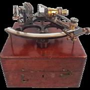 circa 1929 Cased H.Hughes & Son Brass Naval Sextant