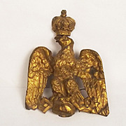French 2nd Empire House of Bonaparte Gilt Brass Banner Top