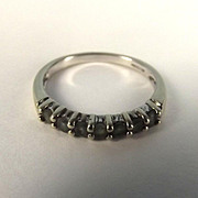 9ct White Gold 7 Stone Mid Green Topaz Ring UK Size N+ US 7