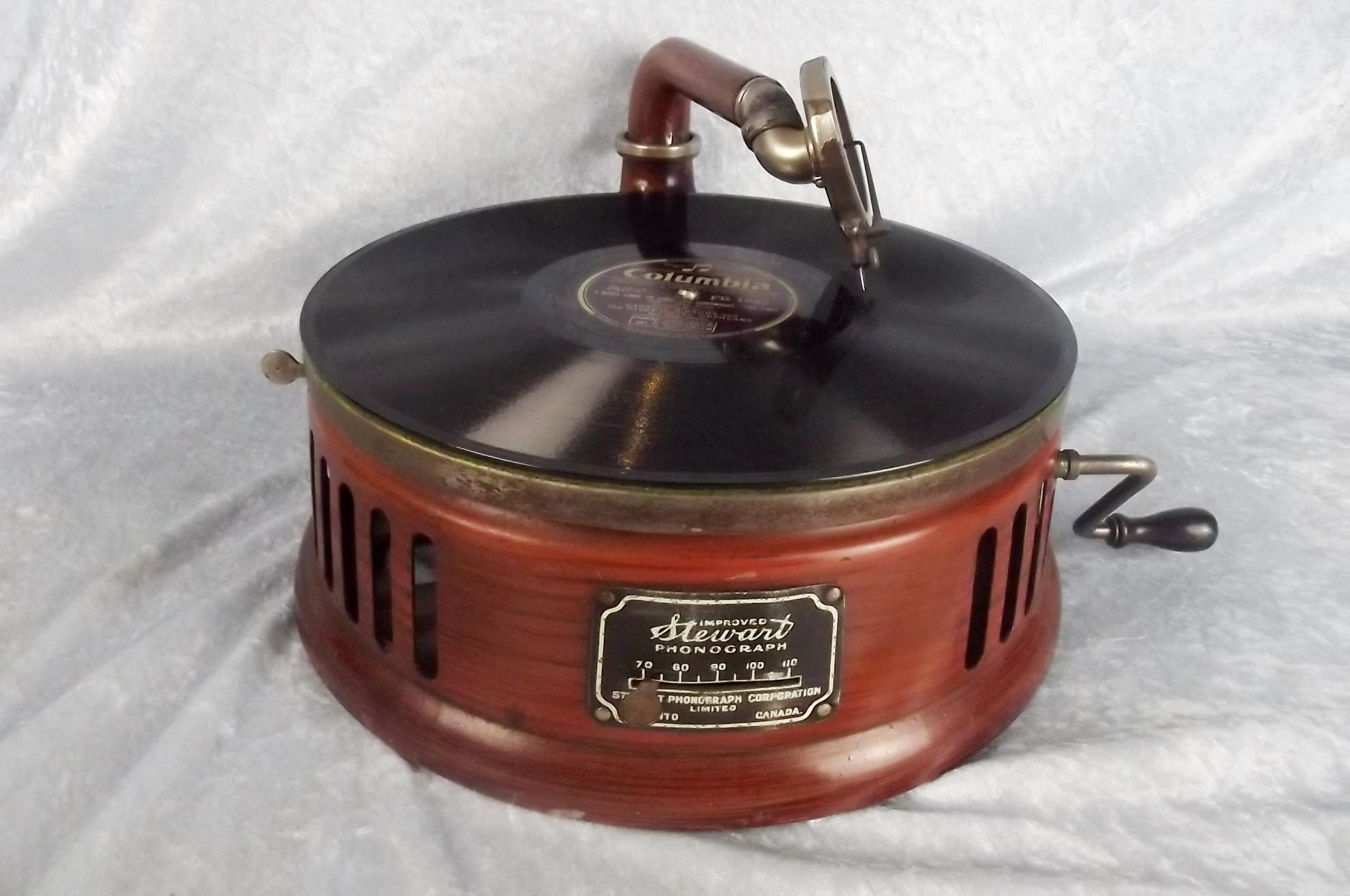Antique Stewart Phonograph Picnic Portable Record Player