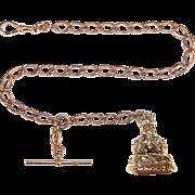 9ct Yellow Gold Chain Wax Carnelian Stone Seal Stamp
