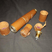 c1900 Dollond 3 Draw Leather Bound Telescope With x30 And x15 Lenses
