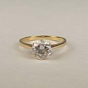 14ct Yellow Gold Cubic Zirconia Solitaire Ring UK Size L US 5 ¾
