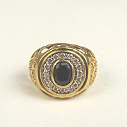 Gents 9ct Yellow Gold Sapphire & Cubic Zirconia Ring UK Size S US 9 ¼
